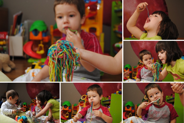 tasting the colored spaghetti