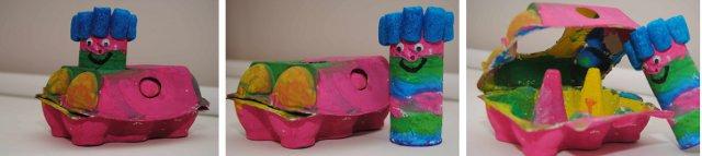 Knutselen met wc rolletjes en eierdozen tot een kleurrijke auto - Tuinuitleg met kiezelstenen ...
