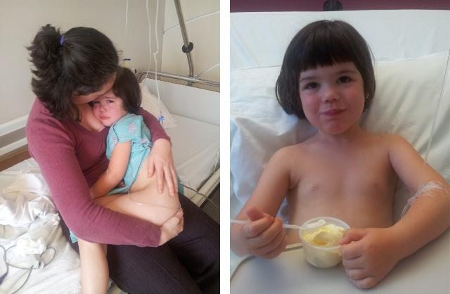 Na de operatie - eerst nog mt pijn, dan met een ijsje